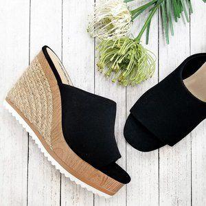 New Black Espadrille Platform Wedge Slide Sandals